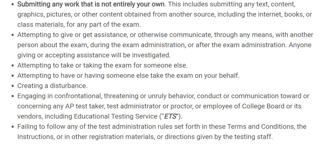 AP考试规则